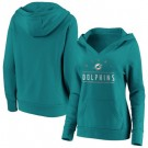 Women's Miami Dolphins Aqua Iconic League Leader V Neck Pullover Hoodie