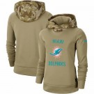 Women's Miami Dolphins Khaki 2019 Salute to Service Therma Printed Pullover Hoodie