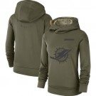 Women's Miami Dolphins Olive Salute To Service Printed Pullover Hoodie