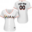 Women's Miami Marlins Customized White Cool Base Jersey
