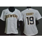 Women's Milwaukee Brewers #19 Robin Yount White Cool Base Jersey