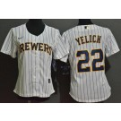 Women's Milwaukee Brewers #22 Christian Yelich White 2020 Cool Base Jersey