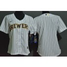 Women's Milwaukee Brewers Blank White Cool Base Jersey