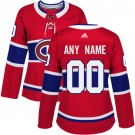 Women's Montreal Canadiens Customized Red Authentic Jersey