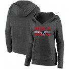 Women's New England Patriots Charcoal First String V Neck Pullover Hoodie