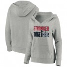 Women's New England Patriots Heather Gray Stronger Together Crossover Neck Printed Pullover Hoodie 0726