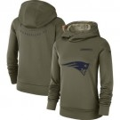 Women's New England Patriots Olive Salute To Service Printed Pullover Hoodie