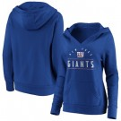 Women's New York Giants Royal Iconic League Leader V Neck Pullover Hoodie
