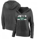 Women's New York Jets Charcoal First String V Neck Pullover Hoodie