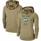 Women's New York Jets Khaki 2019 Salute to Service Therma Printed Pullover Hoodie