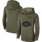 Women's New York Jets Olive Salute To Service Printed Pullover Hoodie