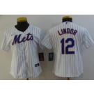 Women's New York Mets #12 Francisco Lindor White Cool Base Jersey