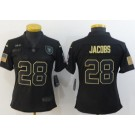 Women's Oakland Raiders #28 Josh Jacobs Limited Black 2020 Salute To Service Jersey