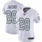 Women's Oakland Raiders #28 Josh Jacobs Limited White Rush Color Jersey
