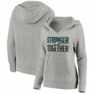 Women's Philadelphia Eagles Heather Gray Stronger Together Crossover Neck Printed Pullover Hoodie 0727