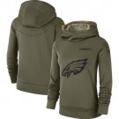 Women's Philadelphia Eagles Olive Salute To Service Printed Pullover Hoodie