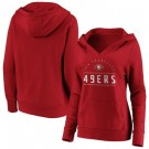 Women's San Francisco 49ers Red Iconic League Leader V Neck Pullover Hoodie