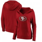 Women's San Francisco 49ers Red Primary Team Logo V Neck Pullover Hoodie