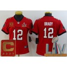 Women's Tampa Bay Buccaneers #12 Tom Brady Limited Red Captain Patch 2021 Super Bowl LV Bound Vapor Untouchable Jersey