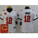 Women's Tampa Bay Buccaneers #12 Tom Brady Limited White Captain Patch Vapor Untouchable Jersey