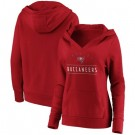 Women's Tampa Bay Buccaneers Red Iconic League Leader V Neck Pullover Hoodie
