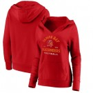 Women's Tampa Bay Buccaneers Red Vintage Arch V Neck Pullover Hoodie