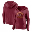 Women's Washington Football Team Red Vintage Arch V Neck Pullover Hoodie