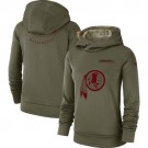 Women's Washington Redskins Olive Salute To Service Printed Pullover Hoodie