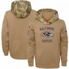 Youth Baltimore Ravens Khaki 2019 Salute to Service Therma Printed Pullover Hoodie