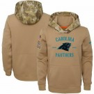 Youth Carolina Panthers Khaki 2019 Salute to Service Therma Printed Pullover Hoodie