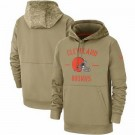 Youth Cleveland Browns Tan 2019 Salute to Service Sideline Therma Printed Pullover Hoodie