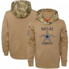 Youth Dallas Cowboys Khaki 2019 Salute to Service Therma Printed Pullover Hoodie