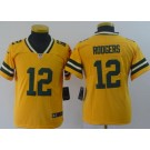 Youth Green Bay Packers #12 Aaron Rodgers Limited Yellow Inverted Vapor Untouchable Jersey