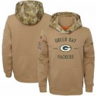 Youth Green Bay Packers Khaki 2019 Salute to Service Therma Printed Pullover Hoodie