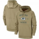 Youth Green Bay Packers Tan 2019 Salute to Service Sideline Therma Printed Pullover Hoodie