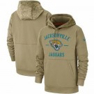 Youth Jacksonville Jaguars Tan 2019 Salute to Service Sideline Therma Printed Pullover Hoodie
