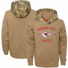 Youth Kansas City Chiefs Khaki 2019 Salute to Service Therma Printed Pullover Hoodie