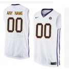 Youth LSU Tigers Customized White College Basketball Jersey