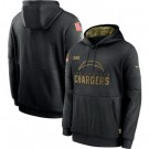Youth Los Angeles Chargers Black 2020 Salute To Service Pullover Hoodie