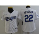 Youth Los Angeles Dodgers #22 Clayton Kershaw White 2021 Gold Program Cool Base Jersey