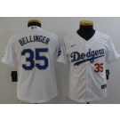 Youth Los Angeles Dodgers #35 Cody Bellinger White Red 2021 Gold Program Cool Base Jersey