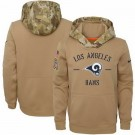 Youth Los Angeles Rams Khaki 2019 Salute to Service Therma Printed Pullover Hoodie