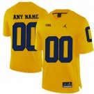 Youth Michigan Wolverines Customized Yellow College Football Jersey