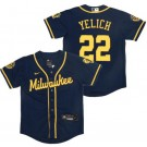 Youth Milwaukee Brewers #22 Christian Yelich Navy Alternate 2020 Cool Base Jersey
