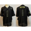 Youth New England Patriots #1 Cam Newton Limited Black 2020 Salute To Service Jersey