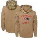 Youth New England Patriots Khaki 2019 Salute to Service Therma Printed Pullover Hoodie