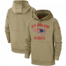 Youth New England Patriots Tan 2019 Salute to Service Sideline Therma Printed Pullover Hoodie