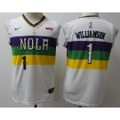 Youth New Orleans Pelicans #1 Zion Williamson White City Icon Sponsor Swingman Jersey