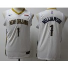 Youth New Orleans Pelicans #1 Zion Williamson White Icon Sponsor Swingman Jersey