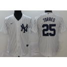 Youth New York Yankees #25 Gleyber Torres White Player Name 2020 Cool Base Jersey